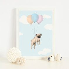 Pugs may fly art print in balloons design