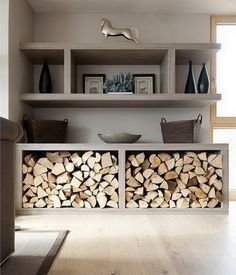 You need a indoor firewood storage? Here is a some creative firewood storage ideas for indoors. Lots of great building tutorials and DIY-friendly inspirations! Home Living Room, Living Room Designs, Living Room Decor, Living Room Shelving, Cool Living Room Ideas, Colour Schemes For Living Room, Living Area, Indoor Firewood Rack, Sweet Home