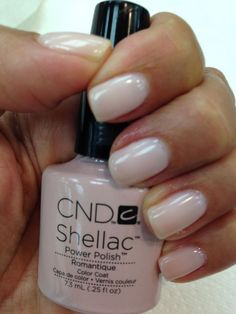 I love the clean look and mirror-like shine!  CND Shellac in Romantique.