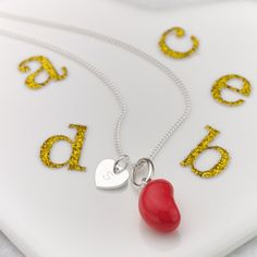 Personalised Raspberry Jelly Bean Necklace