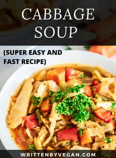 This cabbage soup is perfect for cold winter or autumn nights. It's hearty, warm, and thick. However, you can make this soup any time of the year. It's perfect for utilizing vegetable leftovers at the end of the week! You don't have to strictly follow the ingredients here. Just add any other soup vegetables you want to get rid off. #keto #onepot #vegansoup #cabbage