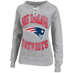 91eef89c6 New England Patriots Heathered Grey Womens O.T. Queen III Lace-Up Crew  Sweatshirt  49.99 http