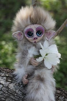 Flower for you - OOAK posable monkey by Creatures-By-Natalie