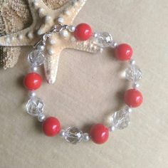 Red Coral & clear Quartz bracelet! Sterling Silver! Check out this item in my Etsy shop https://www.etsy.com/listing/252268878/red-coral-clear-quartz-crystal-bracelet