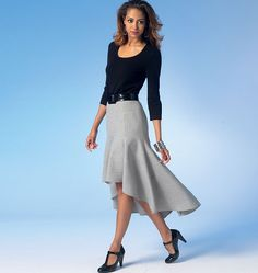 This versatile skirt pattern can be used for fashion shows and dressy… Fitted Skirt, Ruffle Skirt, Skirt Outfits, Cool Outfits, Evening Dress Patterns, High Low Skirt, Mccalls Sewing Patterns, Diy Clothes, Dress Up