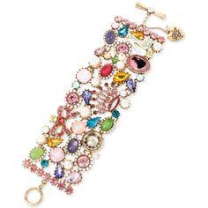 Betsey Johnson Gold-Tone Crystal Multi-Stone and Charm Toggle Bracelet ($109) ❤ liked on Polyvore featuring jewelry, bracelets, multi, toggle charm bracelet, crystal stone jewelry, charm bangles, crystal jewellery and betsey johnson bangle