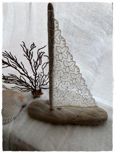 ⛵ Sailboat Driftwood Beach Decor - Vintage Lace Sail by sirlei.germano