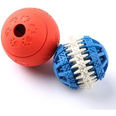 Dog Chew Toys, PESTORY Non-Toxic Rubber Puzzle Dog Treat Slow Feed Ball Dog IQ Toys Balls Set, Training/Chewing/Tooth Cleaning/Treat Dispensing, for Challenging Interactive Play (Blue and Red) ~~ You can find out more about the great product at the image link. (This is an affiliate link and I receive a commission for the sales)