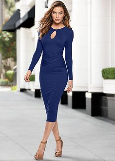 Wearing this to or after work. Venus cut out neck detail dress with Venus peep toe ankle strap heel.