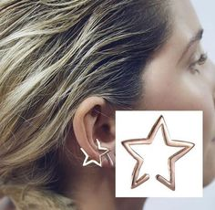 STAR ear cuff jewelry silver gold black ONE (1) Either ear clip on jewelry #Unbranded
