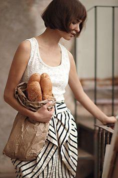 This hair!  This skirt!  Baguettes!