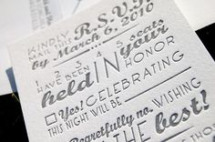 Type mixture, one color invitations, love the wording and fill in the blank