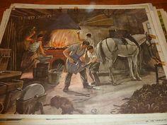 Ancienne affiche scolaire carte1960 Rossignol Le maréchal Fernand  Fer à Cheval