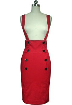 Rockabilly retro suspender skirt available in plus sizes. Affordable Rockabilly clothing. Blueberryhillfashions.com