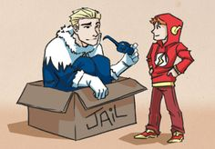 This is the cutest thing ever. If u can't tell its barry (the flash) pretending to be their freeze villian. And Wally (Kid Flash) is the flash.