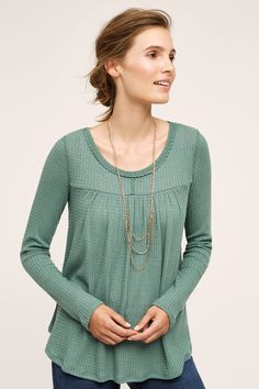 Love this casual thermal top in green to go with jeans. Would like scarf to keep neck warm.