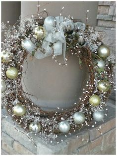 Seasons Of Joy: Seasons Greetings Wreath I could make this out of the grape vine wreaths I make every year from dad's house. Holiday Wreaths, Holiday Crafts, Christmas Decorations, Winter Wreaths, Cheap Holiday, Spring Wreaths, Table Decorations, Summer Wreath, Noel Christmas