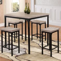 Features:  -Dark brush metal legs.  -Washed oak.  Product Type: -Pub table.  Table Base Type: -Legs.  Table Shape: -Square.  Style: -Contemporary.  Table Finish: -Laminate paper.  Table Base Material: