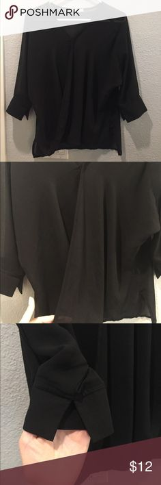 Lovely Black Blouse! Size Small but fits like a Medium. I am a 34DDD and this fits great. Tops Blouses