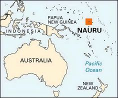 Nauru is located several hundred miles east of New Guinea.