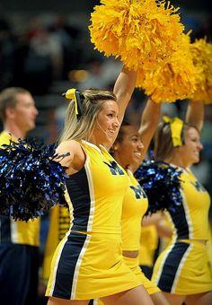 """ Michigan Wolverines #cheer college cheerleading cheerleaders at basketball game m.2.26   #KyFun"" My dream... to cheer for U of M"