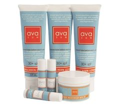 avaSUN protection 7 pc. set. Complete sun protection for your whole family. Set includes sunscreen trio 30+ spf, moisturizer with sunscreen spf 15, and set of three lip balms with sunscreen. Price: $81.95
