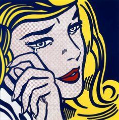 Reproduction de Roy Lichtenstein, A crying girl (Une fille qui pleure). Tableau peint à la main dans nos ateliers. Peinture à l'huile sur toile.