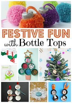 Festive Bottle Cap DIYs - great DIY crafts for Christmas and the festive season. LOVE milk bottle tops, bottle caps and any other lids you can find for crafting.