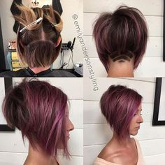 inverted bob cut shaved under purple lotus - Recherche Google