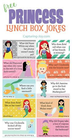 Surprise your princess with these Free Disney Princess lunch box jokes from Capturing-Joy.com!