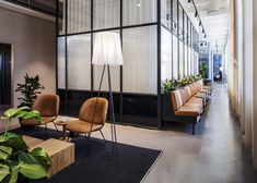 "This beautiful office space, located in Stockholm, Sweden, won the prestigious award ""Most Stylish Office in Sweden"" and was furnished by. Flex Office, Office Lounge, Tiny Office, Office Interior Design, Office Interiors, Mumbai, Waiting Room Design, Waiting Area, Office Waiting Rooms"