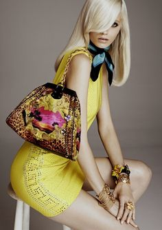 Versace yellow summer dress with class.  Scarf and bag.
