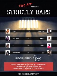 The Pit presents Strictly Bars Rap Battle on Friday, February 3, 2017 at Sycamore Deli. Admission is $3 per person.