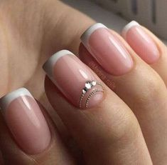 manicure of white color. Decorated with rhinestones. French manicure of white color. Decorated with rhinestones. French manicure of white color. Decorated with rhinestones. French Nails, Acrylic French Manicure, French Manicure Designs, Acrylic Gel, French Manicures, Bride Nails, Wedding Nails, Hair Wedding, Bridal Hair