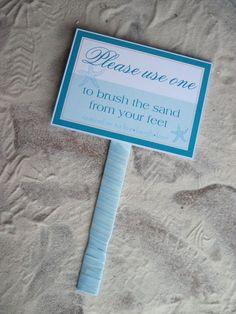 Beach Wedding Sign - Beach Destination Wedding Signs - Sand Brush sign - Flip Flop Sign by iDoArtsyWeddings on Etsy https://www.etsy.com/listing/90572757/beach-wedding-sign-beach-destination