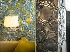 Clare Graham - reuse of post consumer materials into decorative objects - tin can wallpaper, etc
