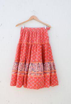 1970s Ruffle Folk Floral Full Skirt / medium. $30.00, via Etsy.