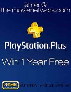"""Win a """"Free Year of Playstation Plus Membership"""" from The Movie Network. Stream movies with your Playstation 4 or Playstation 3. #Giveaway #PinItToWinIt #Movies"""