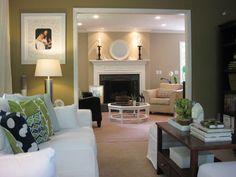 green/white/tan/black same as my living room. Living Room Green, My Living Room, Home And Living, Living Room Decor, Living Spaces, Living Area, Young House Love, Den Room, Modern Sofa