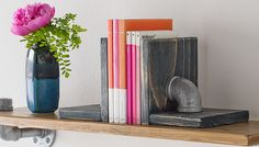 Pipe-theme bookends on a shelf