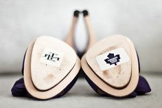 Toronto Maple Leafs stickers on her shoes. Our Wedding Day, Wedding Fun, Wedding Stuff, Wedding Ideas, Hockey Wedding, This Is Your Life, Black Tie Affair, Toronto Maple Leafs, Cute Shoes
