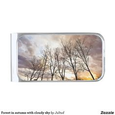 Forest in autumn with cloudy sky silver finish money clip