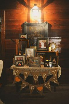 rustic barn wedding story table decor ideas / tables with pics of family wedding pics - parents/grandparents, etc. Wedding 2017, Fall Wedding, Diy Wedding, Dream Wedding, Wedding Ideas, Photo Couple, Wedding Story, Anniversary Parties, Here Comes The Bride
