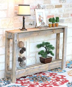 Rustic Entry-Table \ Console Table \ x x Entryway Console Table, Rustic Entryway, Entryway Ideas, Door Ideas, Hallway Tables, Fence Ideas, Rustic Table, Farmhouse Table, Diy Table
