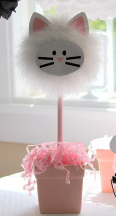 Reserved listing cat hanging pom and by TheShowerPlanner on Etsy