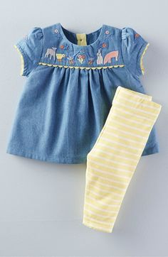 Mini Boden Embroidered Top & Stripe Leggings Set (Baby Girls & Toddler Girls) available at #Nordstrom