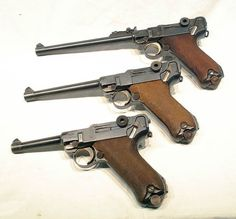 Luger P08 (from top: Artillery; Navy; Standard/Army)