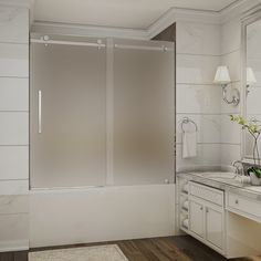 "TDR976 MOSELLE 60"" x 60"" Completely Frameless Sliding Tub-Height Shower Door; Frosted Glass"