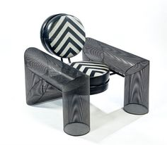"Mario BottaFauteuil ""Prince Chair"", 198594 x 96 cm. (37 x 37.8 in.) close Artist: Mario Botta (Swiss, born 1943) Title: Fauteuil ""Prince Chair"" , 1985Medium:metalSize:94 x 96 cm. (37 x 37.8 in.)"