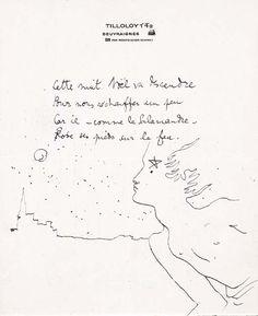 COCTEAU, Jean. Poème autographe,  4 vers écrit à Noël 1939,  avec un très beau dessin original  couvrant la moitié de la page,  un jeune homme au clair de lune  (212 x 175 mm.). Signé de l'étoile.  'Cette nuit Noël va descendre  Pour nous réchauffer un peu.'  Ce dernier vers est la stophe finale  du poème 'La chambre d'Eliane'. Publié dans la Pléiade. Cocteau. p. 1241.